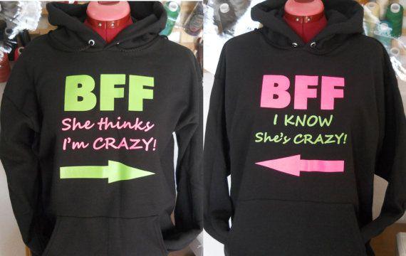 BFF Hoodie / Funny Ladies Sweatshirt / 2 Ladies by Bagsmadetoorder, $50.00