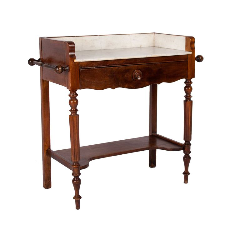 "ORIGIN: France AGE: Late 19th century DIMENSIONS: 32 ½"" l x 15"" w x 31"" h (marble surface is 28"" h) MATERIALS: Walnut and marble CONDITION: Excellent Description This petite antique vanity table is pe"