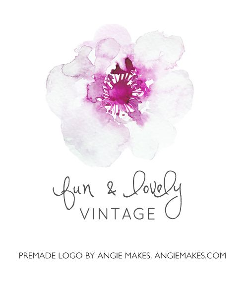 This Cute Watercolor Flower Logo is a Premade Logo that May be Perfect for Your New Brand!   angiemakes.com