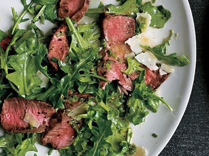 Grilled Steak with Baby Arugula and Parmesan Salad | Flat-iron steaks come from the top blade portion of the chuck or shoulder section.