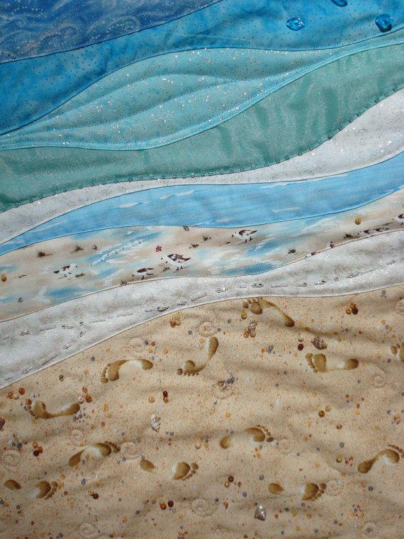 beach ocean quilt | Beach Scene Fiber Art Wallhanging by Jackiesewingstudio on Etsy