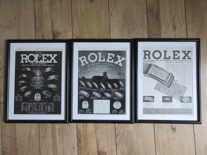 Rolex origineel afgedrukt reclame Posters - 1932 1936 & 1937  Deze reclameposters aandacht trekken zullen van belang zijn voor iedereen die zijn gekoppeld aan de wereld van horloges en horloge verzamelen. Er zijn drie posters die oorspronkelijk deel uitmaakte van een reeks van reclame-affiches voor Rolex en werden gepubliceerd in de eerste helft van de 20e eeuw - 1932 1936 & 1937.Ze zijn nooit tentoongesteld en zijn daarom in ongerepte voorwaarde. Houd er rekening mee dat één van de posters…
