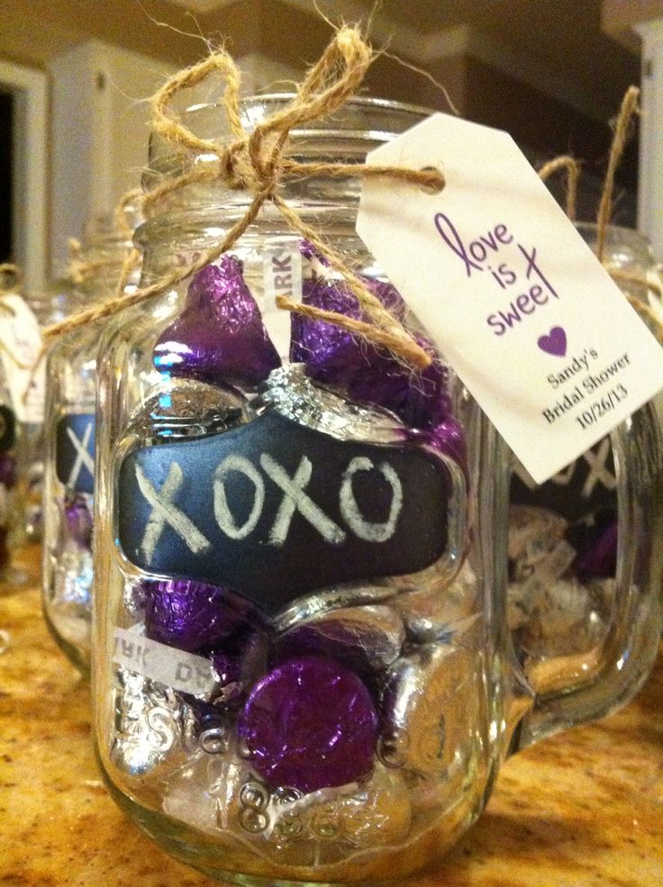 Bridal Shower Favors Mason Jar Mugs W Hershey Kisses Amp Love Is Sweet Tag Display On Table With