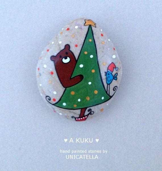 Magnes+świąteczny+-+A+kuku+w+Unicatella+-+kamienie+ręcznie+malowane+na+DaWanda.com