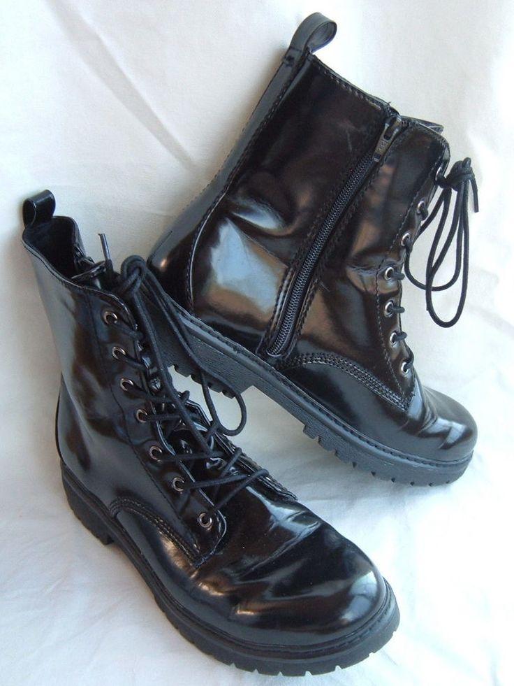 Bongo Women S Black Combat Military Lace Up Boot Side