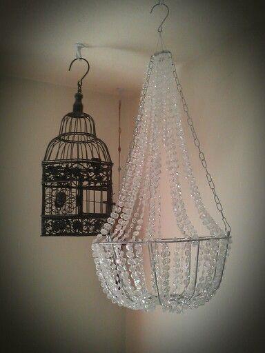 Diy chandelier, dollar store crafts. This was my version. #DIY #chandelier