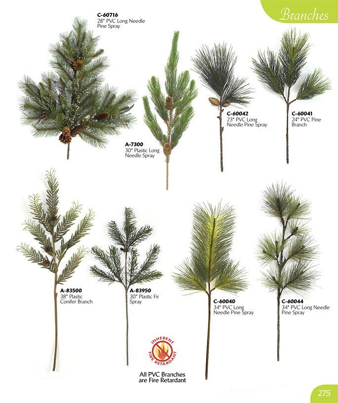 Types Of Pine Trees Needles | 7300 30 plastic long needle pine branch 6 tips 2 pine cones 8 width ...
