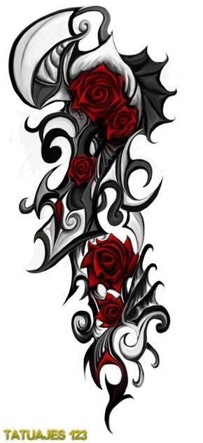 Si te gustan las rosas y también los diseños de tatuajes tribales, entonces estás de enhorabuena. Aunque si por el contrario, estabas dudando en si te quedarían bien, puedes comprobar lo perfecto que es este diseño tanto los brazos como para las piernas.