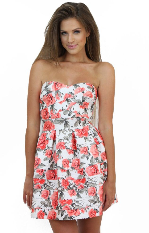 Strapless Coral Floral Dress- don't be shy to show off your feminine features...:) Available at www.famevogue.ro . #dress #floral #fashion #style #trends