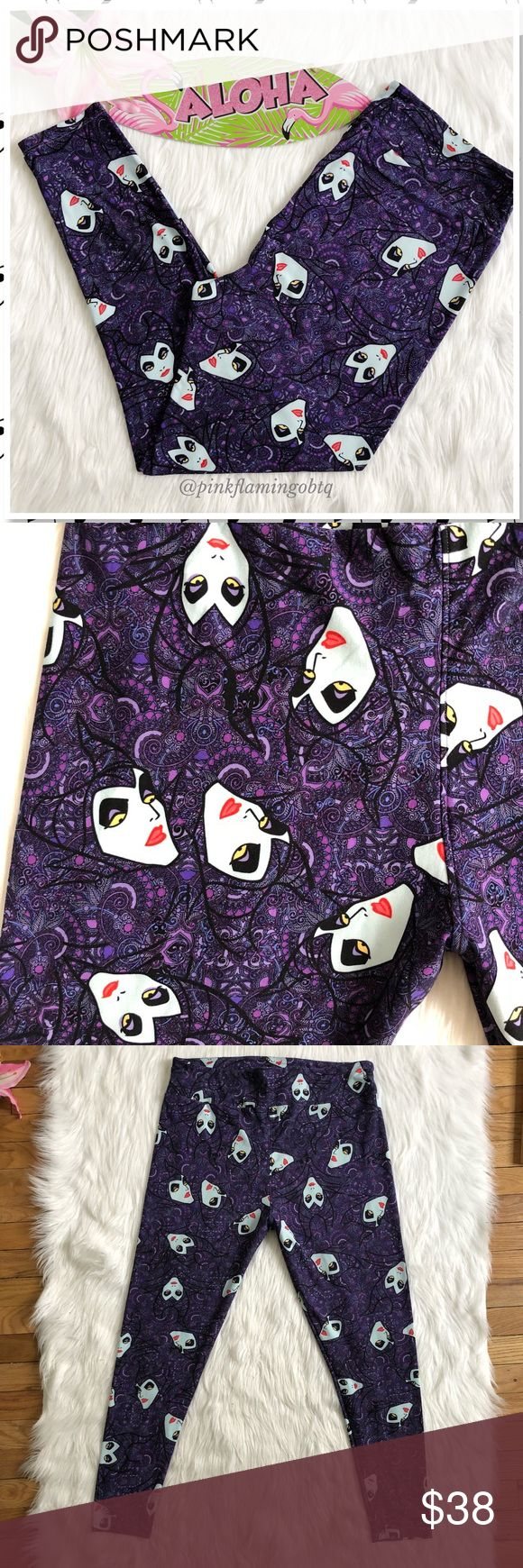 NWOT LuLaRoe TC2 Disney Villain Maleficent Legging NWOT LuLaRoe Disney's Maleficent Purple Leggings TC2 PLUS. New Maleficent print buttery soft leggings. Got these as a present but my friend didn't know the difference between TC and TC2 or that there was a TC2. Sad for me, happy for you! TC2 is size 18+ PLUS. Perfect for any Disney LuLaRoe Collector! Photos are best descriptors. LuLaRoe Pants Leggings
