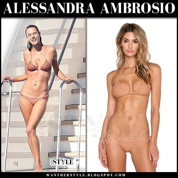 WHAT SHE WORE: Alessandra wore light brown triangle bikini from Acacia Swimwear