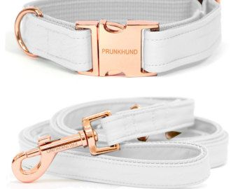 Dog collar MINT with rose gold colored hardware  handmade