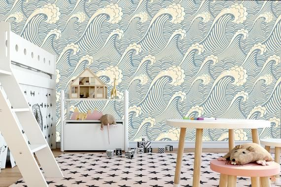 Waves Removable Wallpaper Peel And Stick Wallpaper Waves Etsy Removable Wallpaper Waves Wallpaper Wall Wallpaper