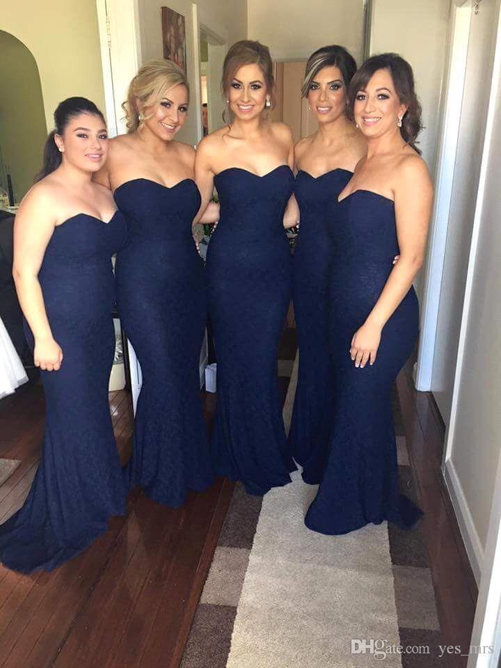 2017 Hot Bridesmaids Dresses Sweetheart Lace Long Full Length Dark Navy Blue For Wedding Formal Mermaid Bridesmaid Dress Under 100