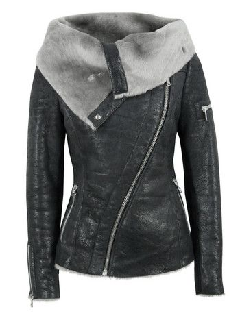 Arnelle Black Leather Biker Jacket for the missus.