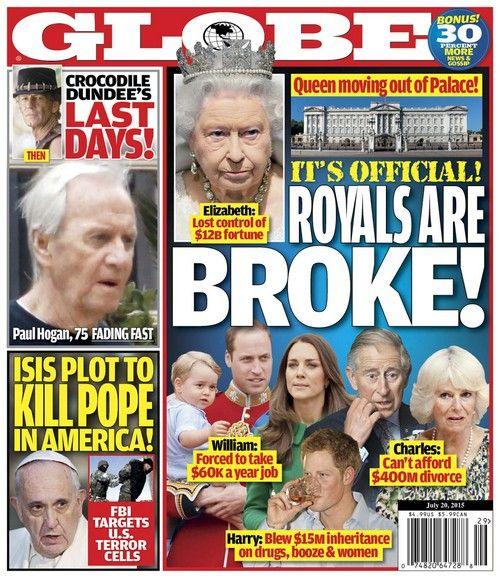 GLOBE: The British Royal Family Broke - Queen Elizabeth Loses Control of $12 Billion Fortune? (PHOTO)