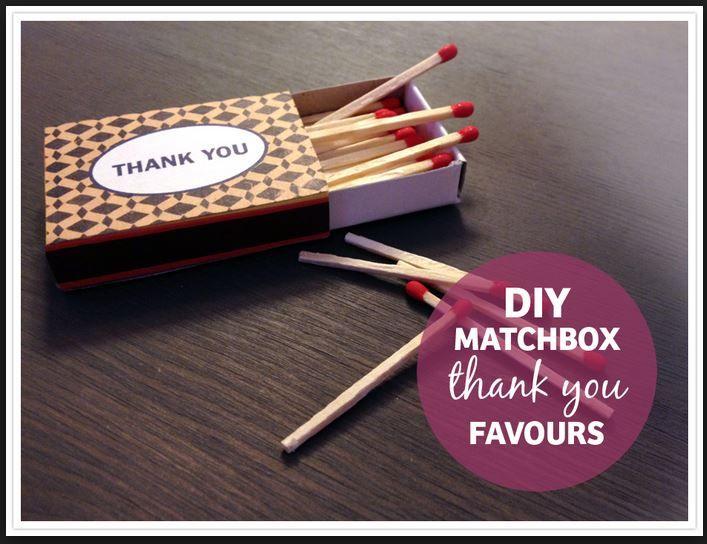 DIY Matchbox THANK YOU Favours