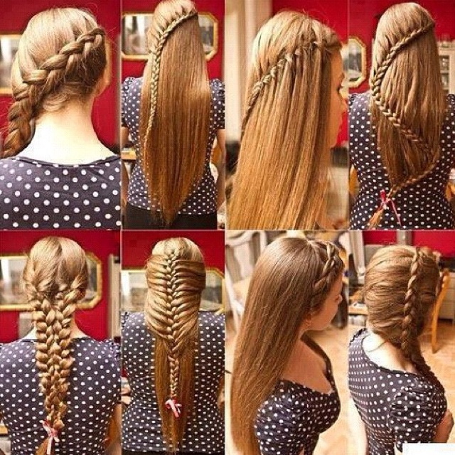 I do the 5th one all the time ( 3 French braids braided into one)