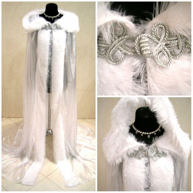FUR medieval cloak white cape wedding dress costume snow ice queen Narnia witch Christmas x-mas renaissance tudor larp wicca ELSA elven LOTR