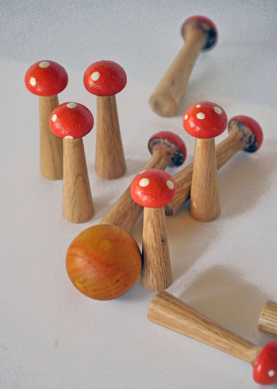 10 pin Wooden Mushroom Bowling Set by CCFineFurniture on Etsy, $30.00