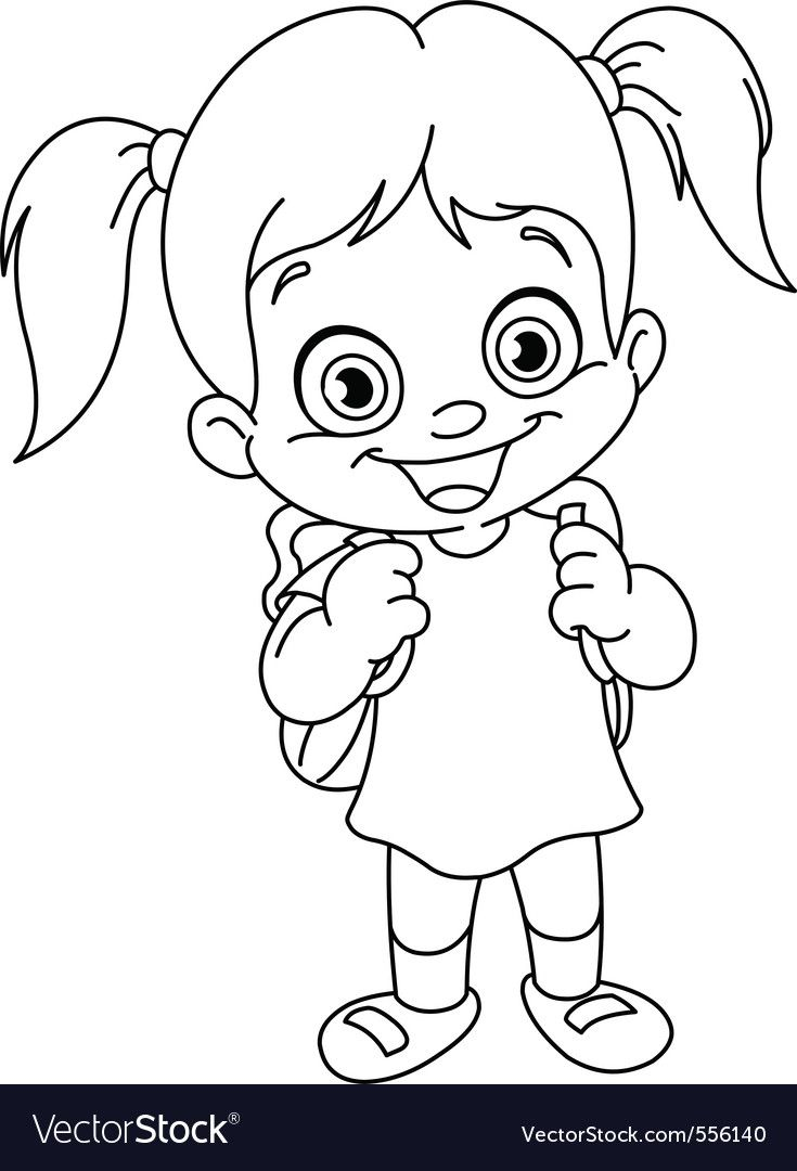 Outlined Schoolgirl Vector Image On Vectorstock Coloring Pages For Boys Coloring Pages For Girls Cute Coloring Pages