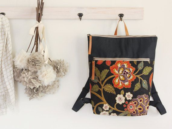 Dark navy blossom canvas Backpack, laptop backpack, diaper backpack with zipper closure. 7 inside pockets. Waterproof lining available  https://www.etsy.com/shop/bagybags