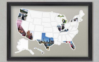 Ways to use trip/vaca photos   Fill in a map-shaped photo frame
