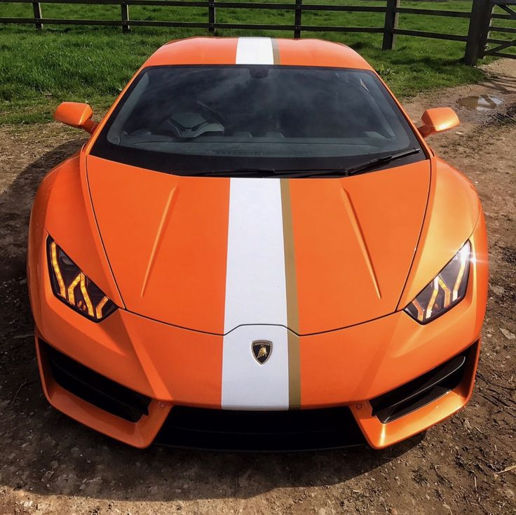 Lamborghini Huracan LP580-2 Coupe painted in Arancio Borealis w/ a center stripe inspired by the Lamborghini Gallardo Balboni Edition  Photo taken by: @apf_cars on Instagram   Owned By: @wallacepjw on Instagram