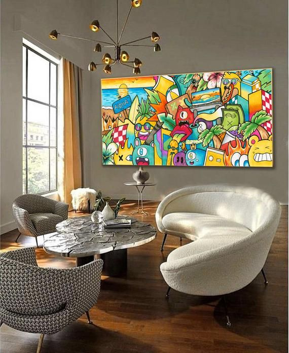 Original Pop Art Painting For Living Room Decor Horizontal Etsy In 2020 Colorful Wall Art Canvas Colorful Wall Art Pop Art Canvas