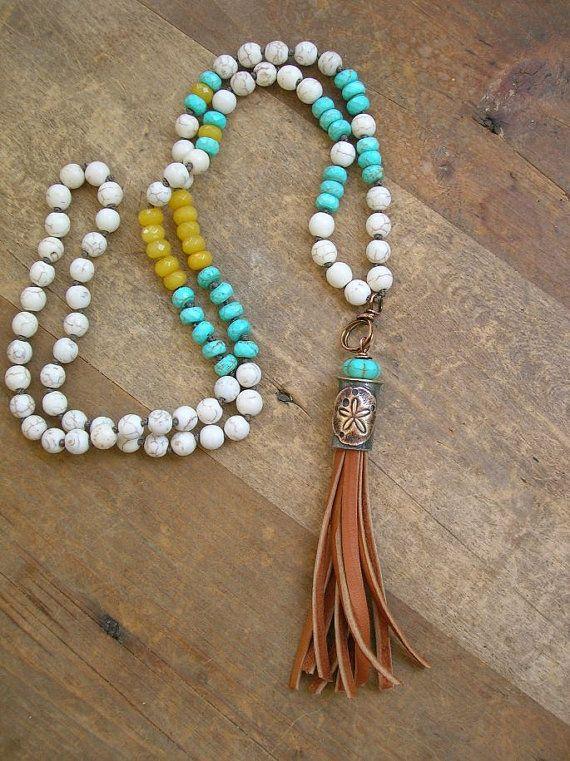 Beachy tassel necklace Summer Festival boho by 3DivasStudio