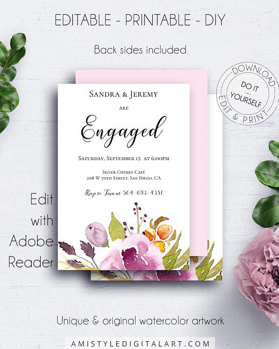 Engaged Floral Invitation, with lovely and charming watercolor floral graphics for the lovers of the vintage and bohemian style.This adorable engagement invitation template listing is an instant download EDITABLE PDF so you can download it right away, DIY edit and print it at home or at your local copy shop by Amistyle Digital Art on Etsy
