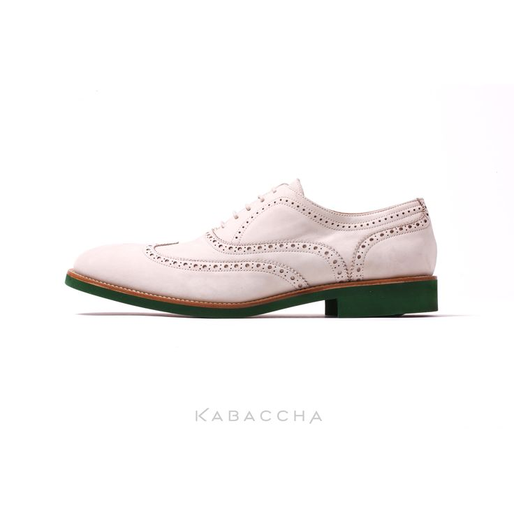 Kabaccha Shoes // Beige Nubuk Leather & Brown/Green Sole Wingtip #KabacchaShoes #Wingtips