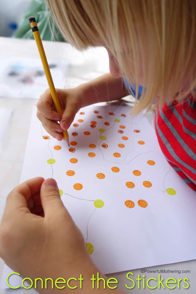 reinforce pencil control with a simple connect the stickers activity!