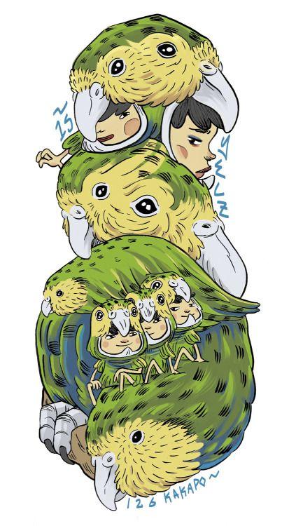 Illustrated NZ Bird series.Kereru / Kakapo /Karuhiruhi /http://yelzshop.bigcartel.com