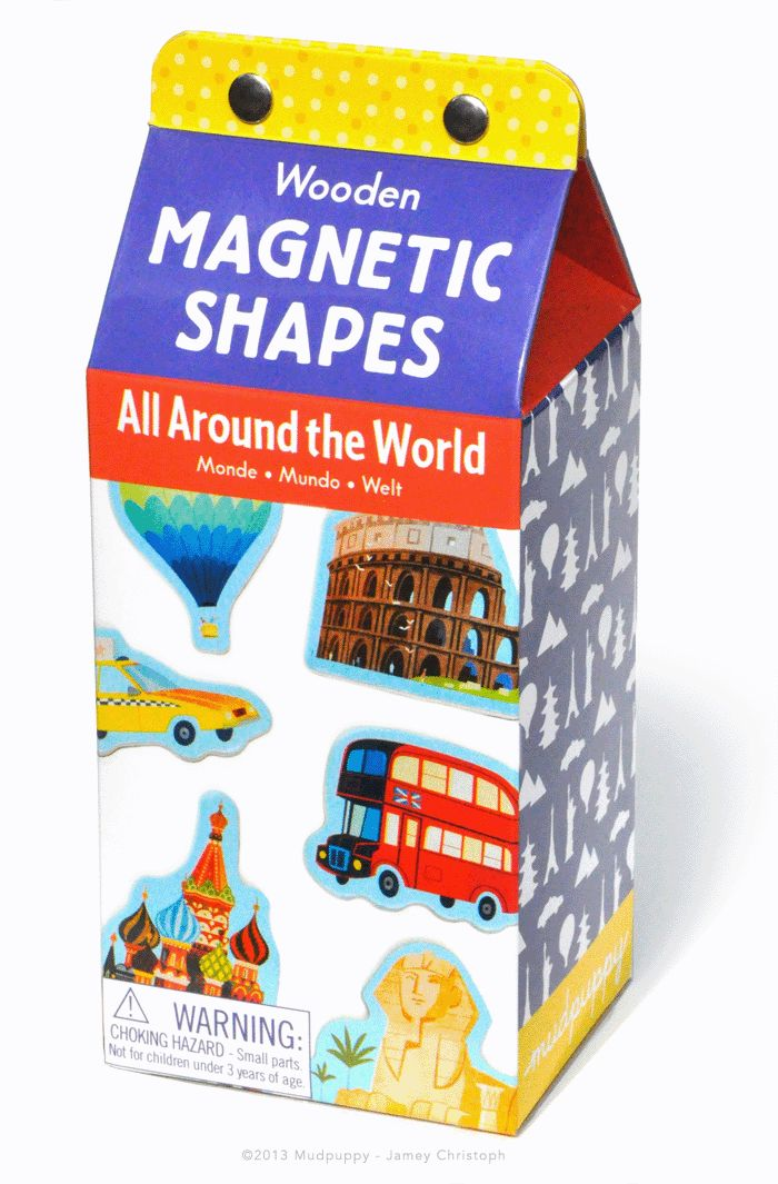 Kolorowe magnesy Mudpuppy, dzięki którym maluchy poznają budynki charakterystyczne dla różnych stolic świata.