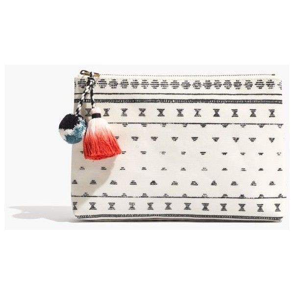 MADEWELL Small Pom-Pom Zip Pouch ($23) ❤ liked on Polyvore featuring bags, handbags, clutches, white tote handbags, white tote purse, tote handbags, tablet tote bag and madewell tote