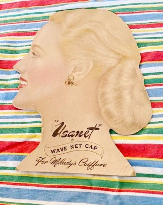 1950s Store Display for Wave Nets 1950s Drug Store Advertising Display for Ladies Hair Products