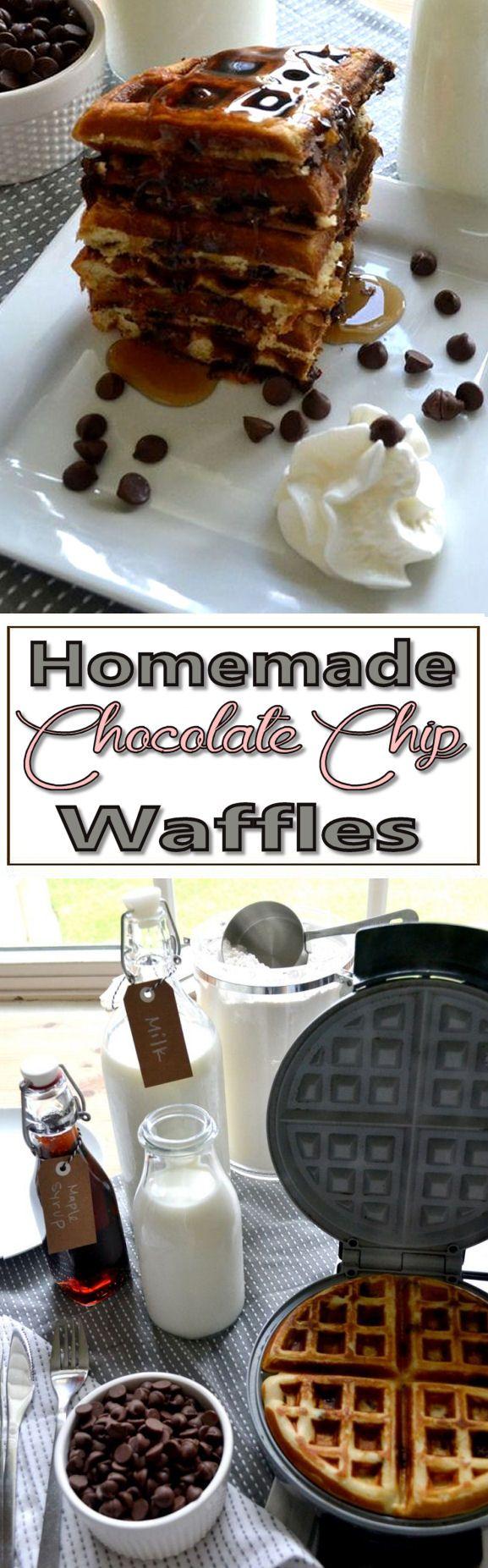 Homemade Chocolate Chip Waffles Recipe ❤︎ Yumm!  #breakfast #desert #brunch