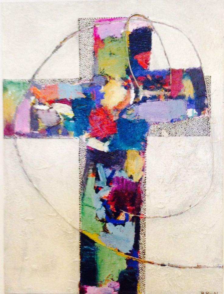 Recycled Cross. Birgit Ravn Søndergaard. Acrylics and mixed media on canvas.