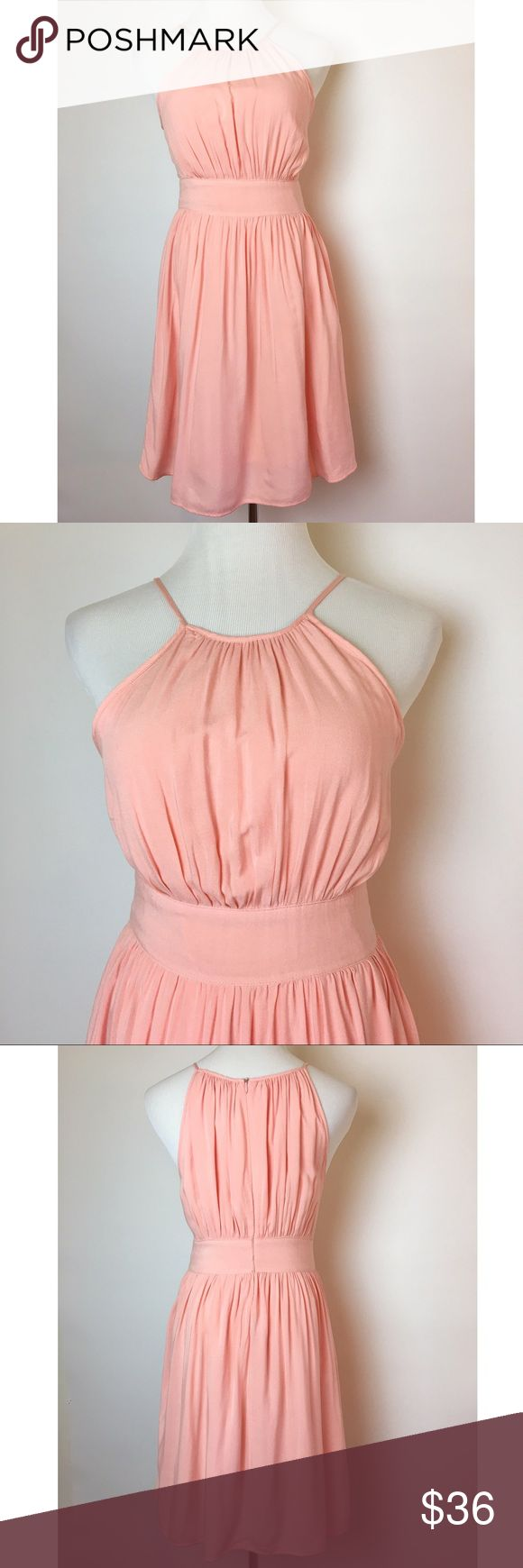 Zara Basic peach halter dress Adorable gathered halter with hidden back zipper and fitted waist. Light peachy pink color. Soft viscose with cotton lining. Excellent condition. Zara Dresses