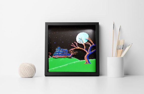 Maniac Mansion  caja de sombra Diorama Commodore 64 Apple