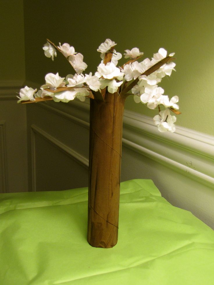 flowering cherry tree craft with a paper towel tube and silk flowers