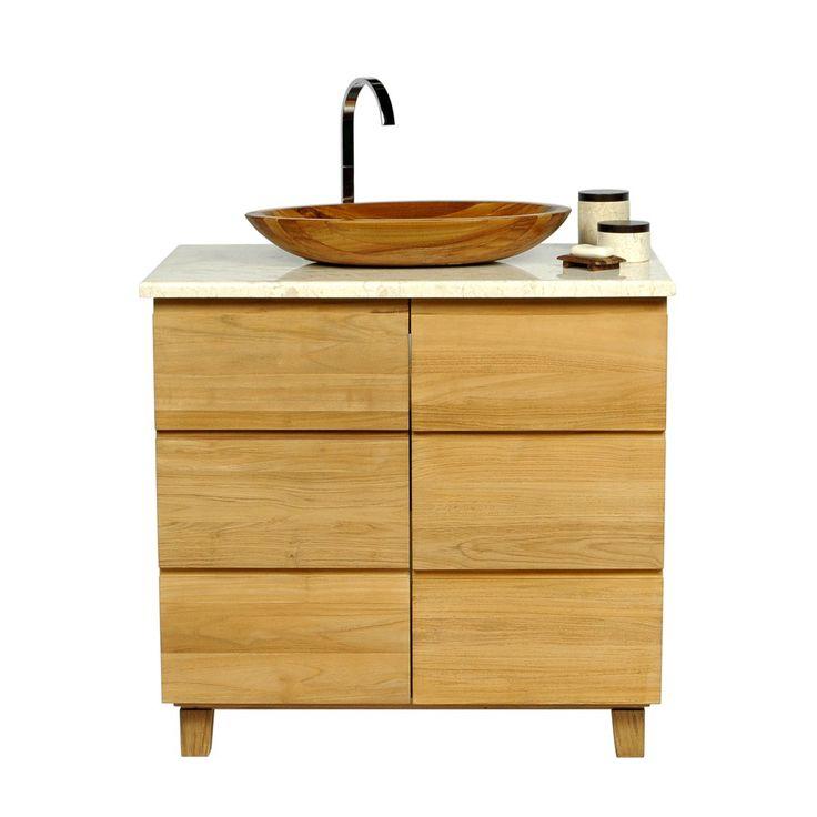 Teak Waschtisch ONLINE VA mit Regalbrett und Marmorplatte creme 93x56,5x80cm 750 Euro bei wohnfreuden