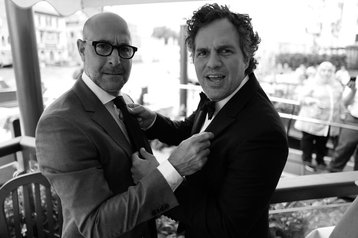 Stanley Tucci and Mark Ruffalo at the Gritti Palace before the screening of <em>Spotlight</em>.
