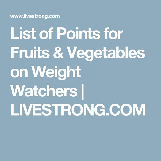 List of Points for Fruits & Vegetables on Weight Watchers | LIVESTRONG.COM