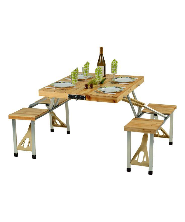 Natural Portable Picnic Table Set