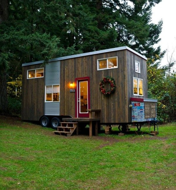 This is a tiny home on wheels just recently finished by Michelle Boyle, a tiny house designer, builder, occupant, and enthusiast.