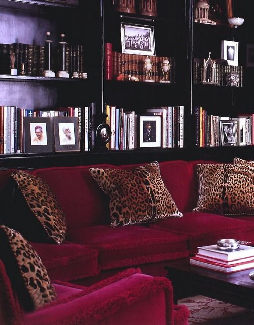 Holy Moly!  This room is gorgeous!Libraries, Leopards Pillows, Living Room, Bookcas, Red Velvet, Animal Prints, Leopards Prints, Leopard Prints, Black