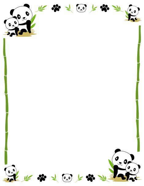 Border clip art featuring cute pandas, bamboo, and paw ...