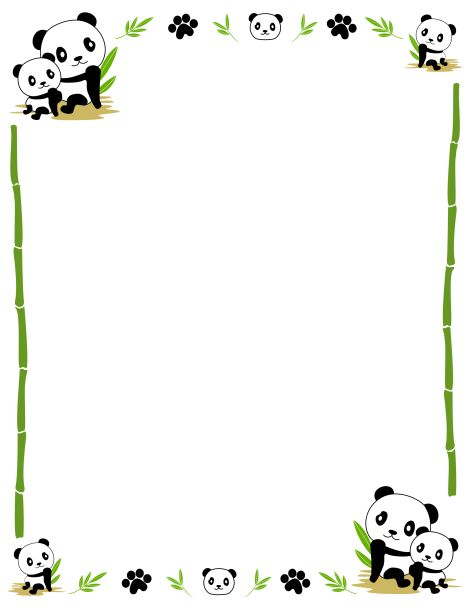 ... clip art featuring cute pandas, bamboo, and paw prints. Free